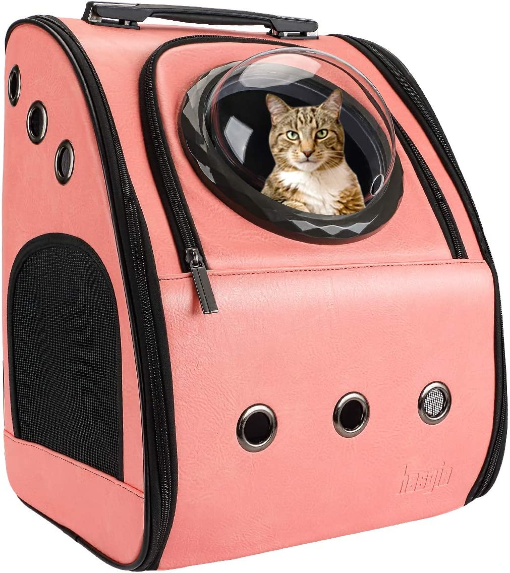 Hasgia Cat Backpack Carrier Portable Traveler Handbag for Pet Small Dog with Space Transparent Vision Cushion-Mat Cingulate for Fit Pet Up to 15 Pounds Large Breathable Comfortable