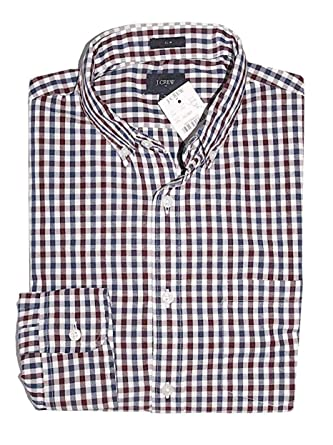 4fd18399c7 J Crew Factory - Men s Slim Fit - Gingham Plaid Patterned Washed Cotton  Shirt at Amazon Men s Clothing store