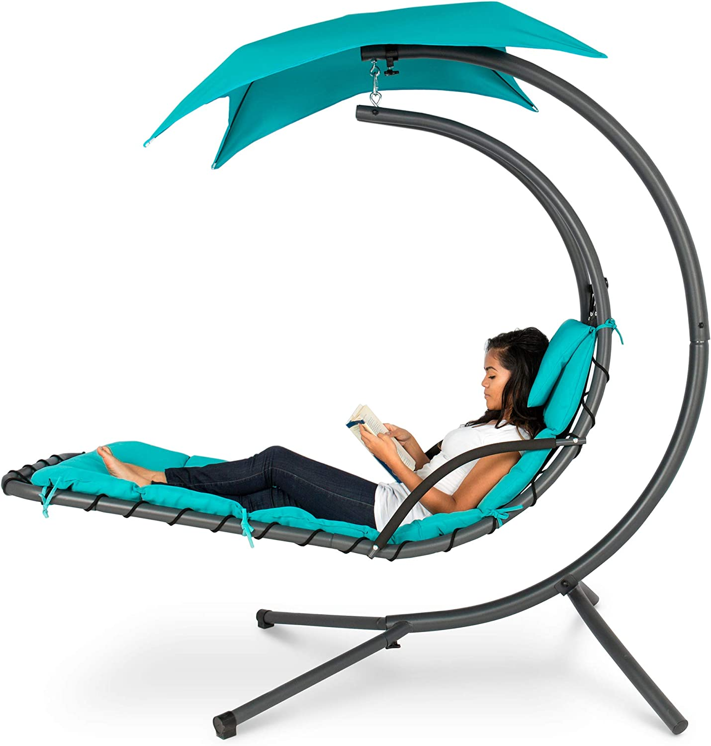 Best Choice Products Outdoor Hanging Curved Chaise Lounge Chair Swing for Backyard, Patio w Built-In Pillow, Removable Canopy, Stand – Teal