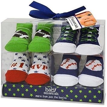 Amazon Com Baby Essentials Set Baby Boys 4 Pack Sports Socks 0 6