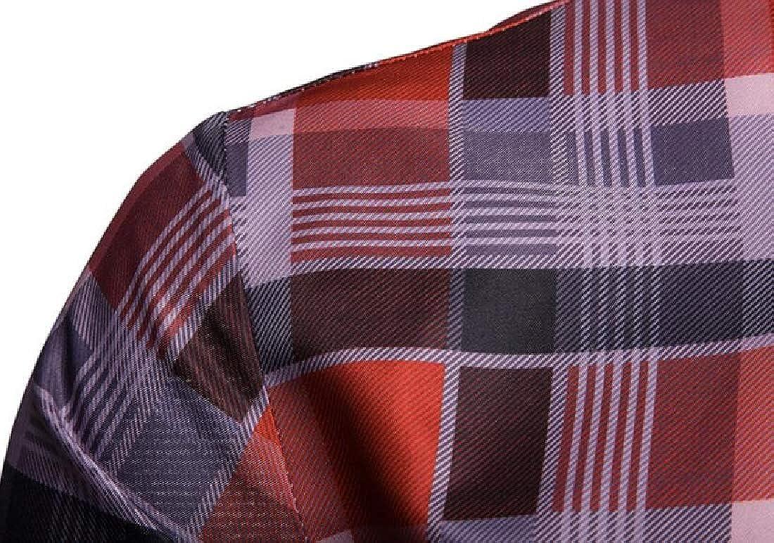 Domple Men Plaid Formal Casual Long Sleeve Floral Print Button Down Dress Work Shirt