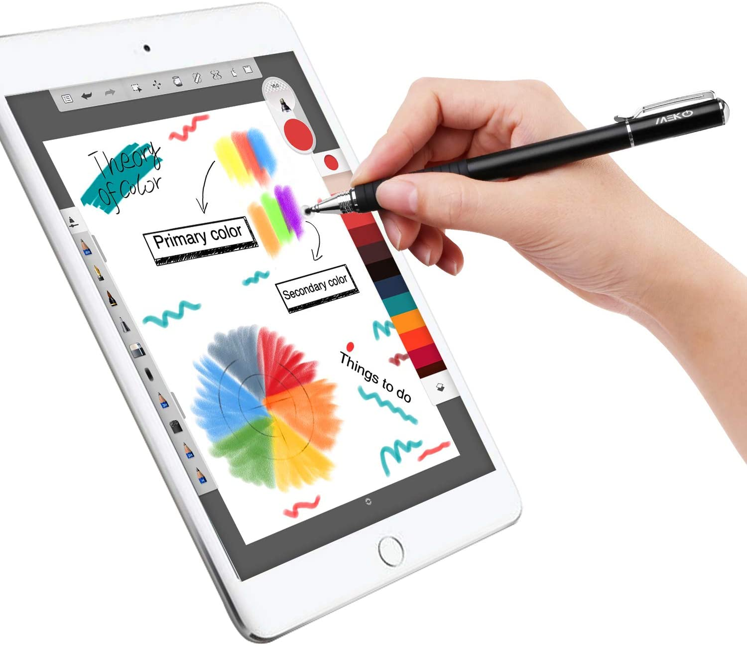 2pc 2-in-1 Stylus Pen for Touchscreen Phone Tablet with Conductive Head/&Disc Tip