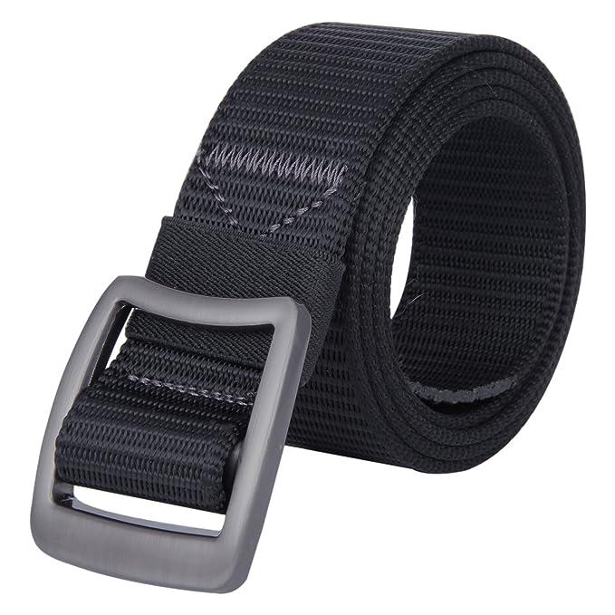 b14b325c1 JINIU Men s Nylon Canvas Web Belt With Zinc Alloy Buckle Military Casual  Outdoor Black (JNSG13