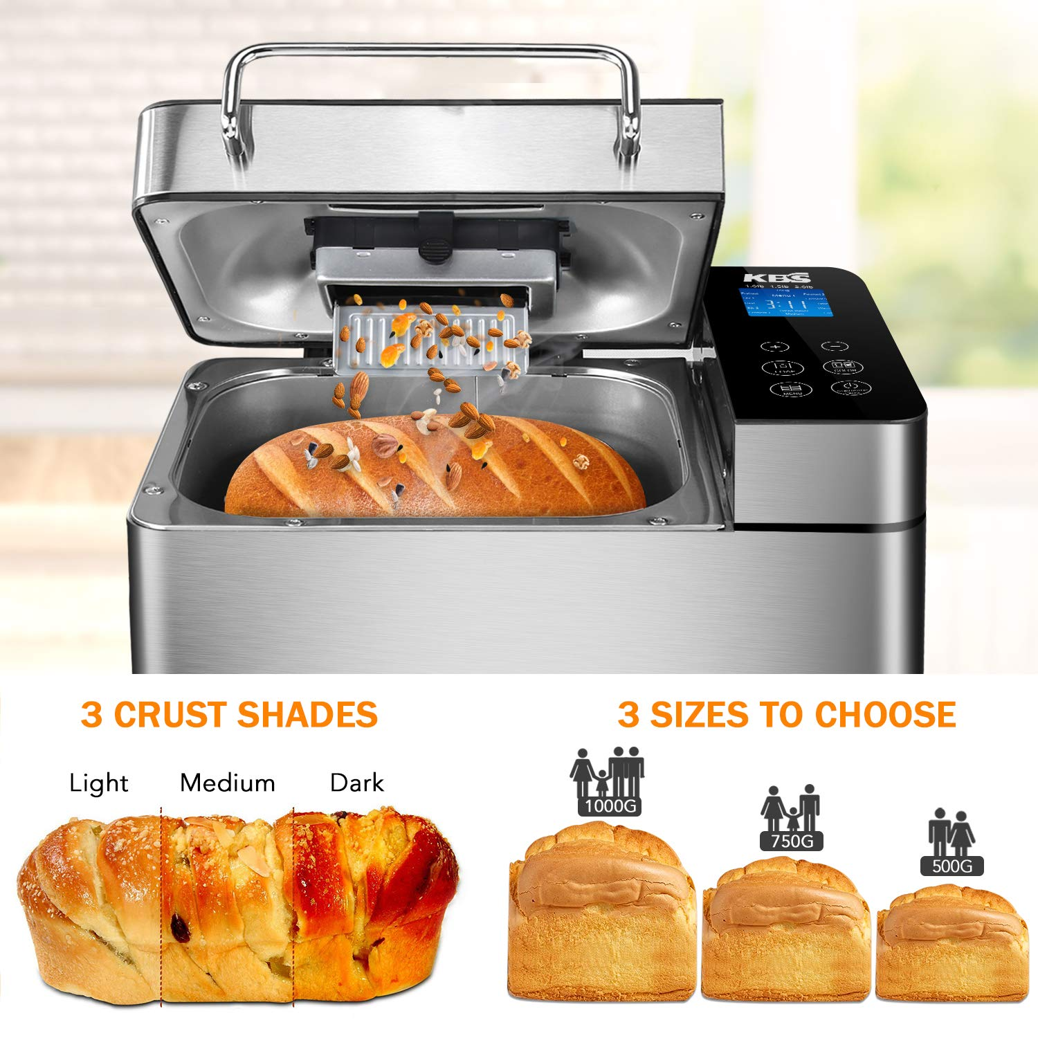 KBS Stainless Steel Bread Machine,1500W 2LB 17-in-1 Programmable XL Bread Maker with Fruit Nut Dispenser, Nonstick Ceramic Pan& Digital Touch Panel, 3 ...