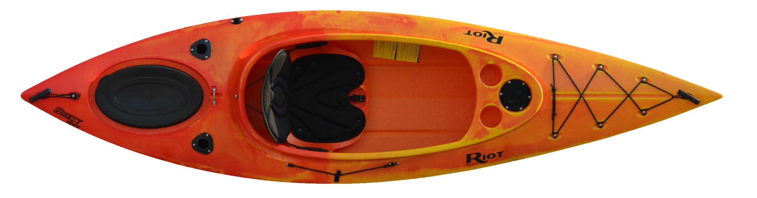Riot Kayaks Quest 10 HV Flatwater Day Touring Kayak, Yellow/Red by Riot Kayaks