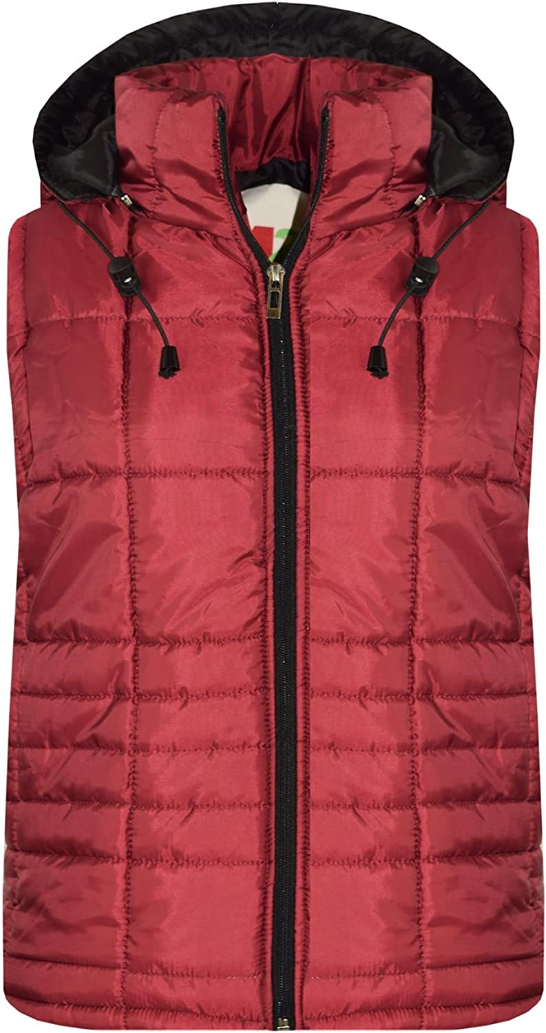 A2Z 4 Kids/® Kids Girls Boys Designers Wine Sleeveless High Neck Padded Quilted Lined Gilet Bodywarmer Fashion Jackets Age 5 6 7 8 9 10 11 12 13 Years