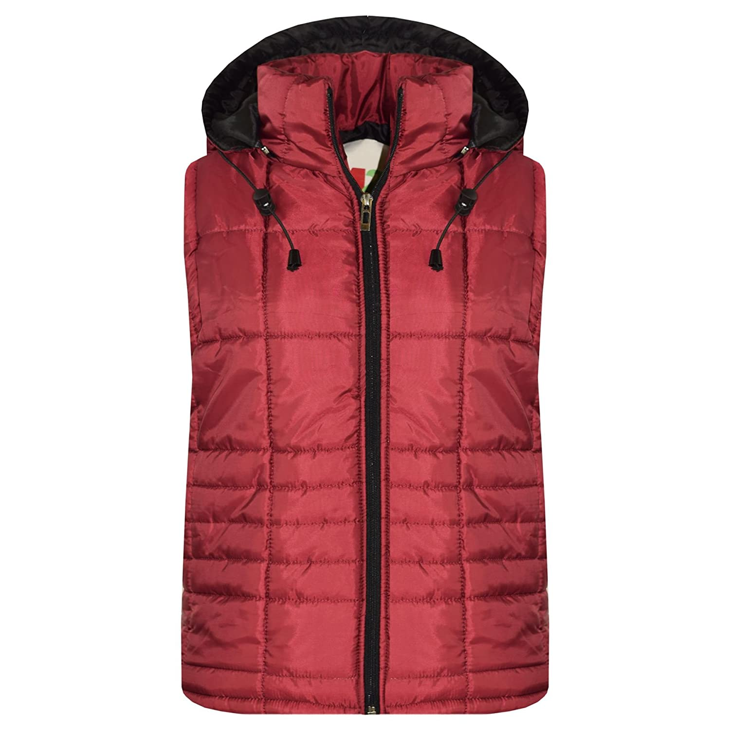 A2Z 4 Kids® Kids Girls Boys Designer's Wine Sleeveless Hooded Padded Quilted Lined Gilet Bodywarmer Fashion Jackets Age 5 6 7 8 9 10 11 12 13 Years