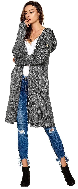 086de82eea Hochwertiger, modischer Cardigan mit Kapuze Knielang * Strickjacke Damen Jacke  lang Mantel Strickmantel