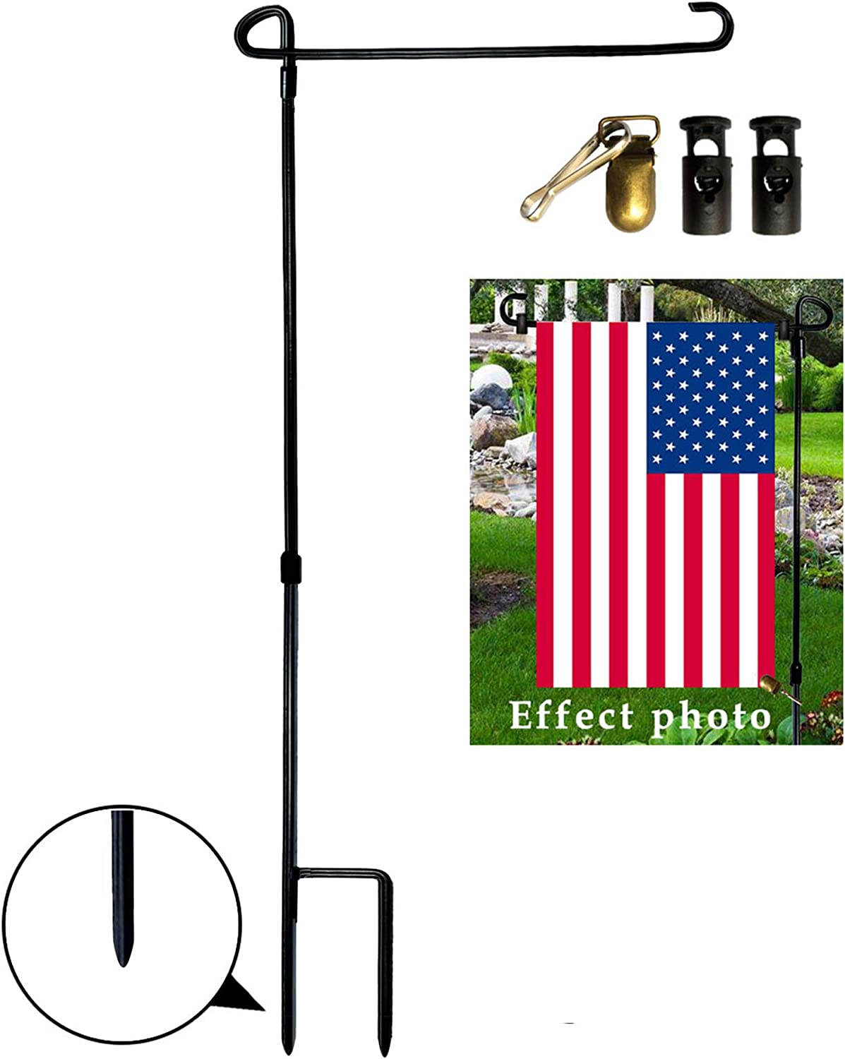 Garden Flag Stand Metal Outdoor Garden Flag Holder Stand with 9 Flag  Stoppers and 9 Metal Anti-wind Clip Garden Flag Holder Pole Powder-Coated