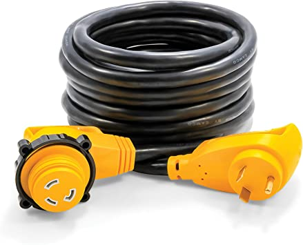 Camco Heavy Duty 25 30 Amp Power Grip Extension Cord with 90M//90F Locking Adapter Threaded Locking Ring Ensures a Weatherproof Connection 55524