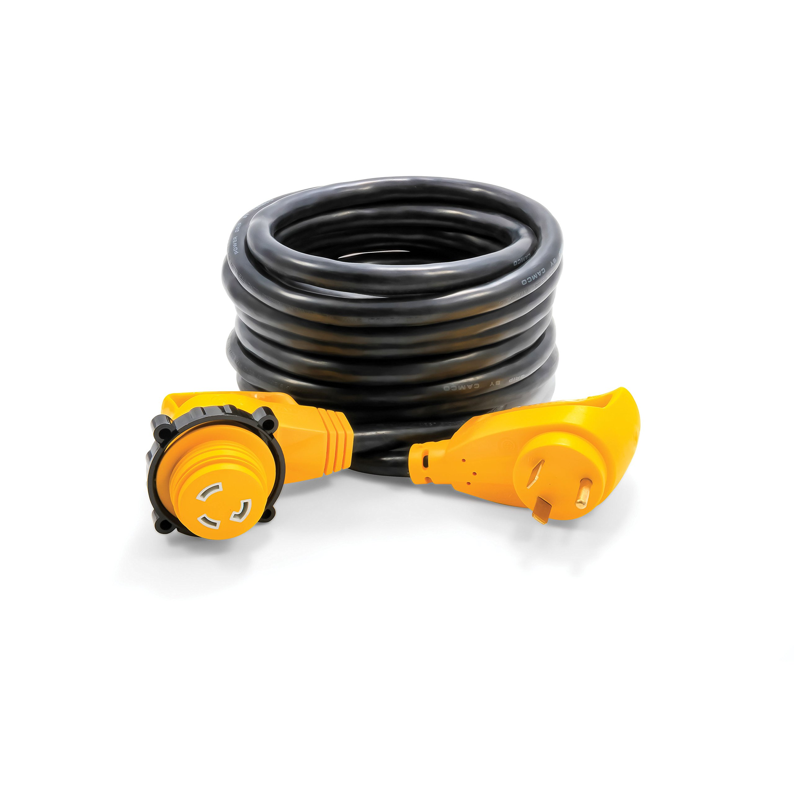 Camco Heavy Duty 25' 30 Amp Power Grip Extension Cord with 90M/90F Locking Adapter - Threaded Locking Ring Ensures a Weatherproof Connection (55524)