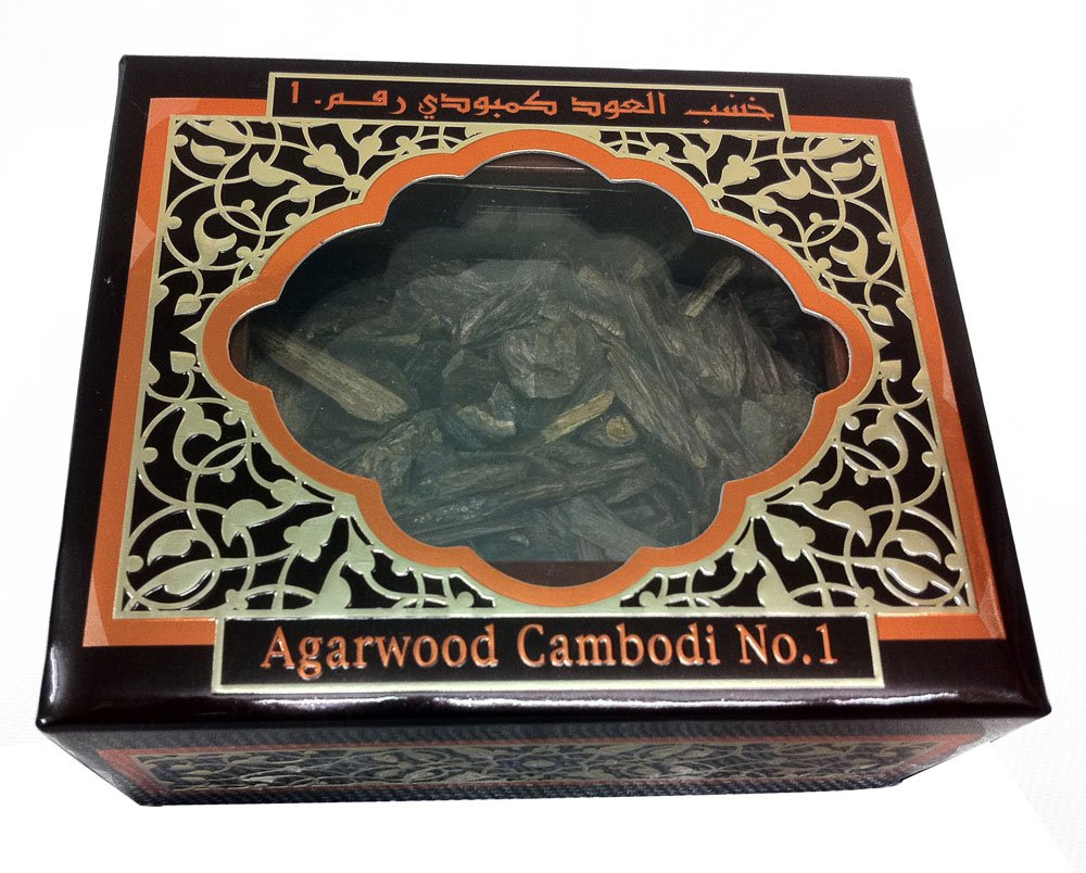 Agarwood Cambodi No. 1 200g by Al Haramain - premium quality pure natural agarwood chips sticks in sealed branded gift box shipped directly from Middle East
