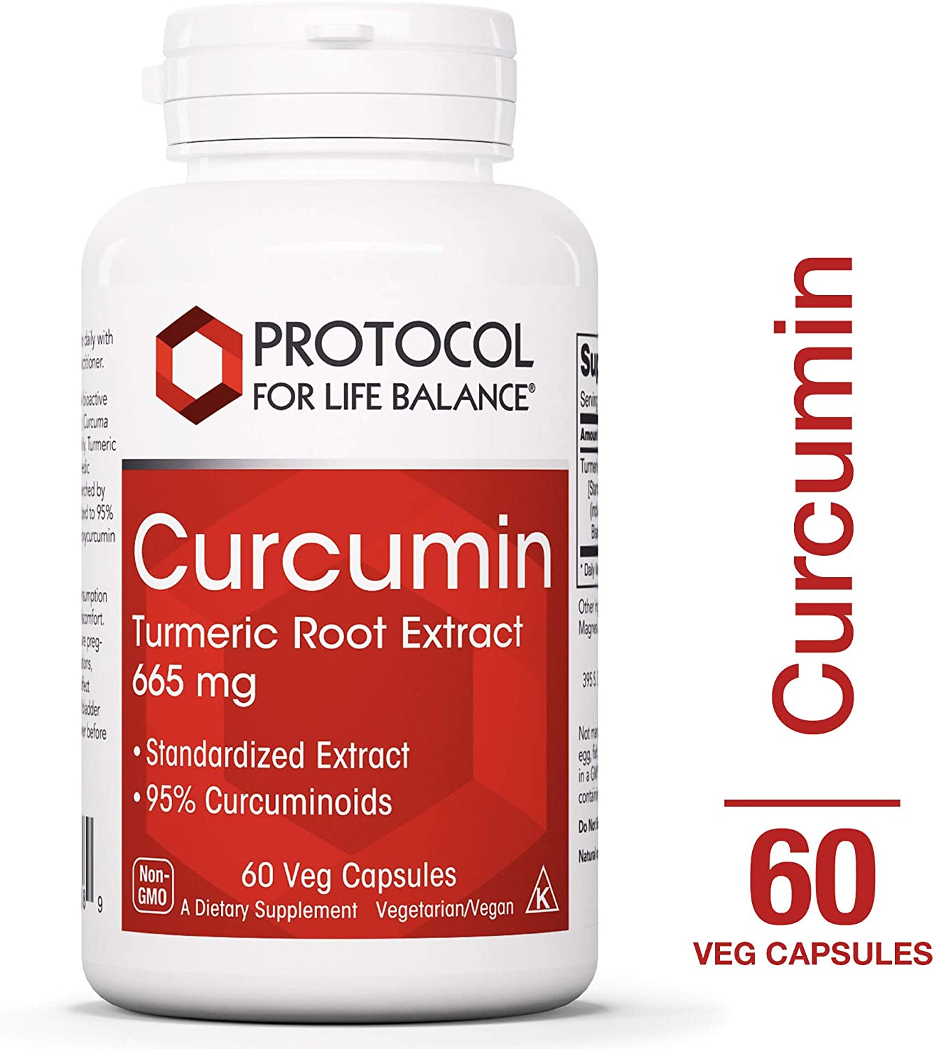 Protocol For Life Balance – Curcumin – Turmeric Root Extract 665 mg – Reduces Joint Inflammation and helps Maintain Normal Cardiovascular Health – 60 Veg Capsules