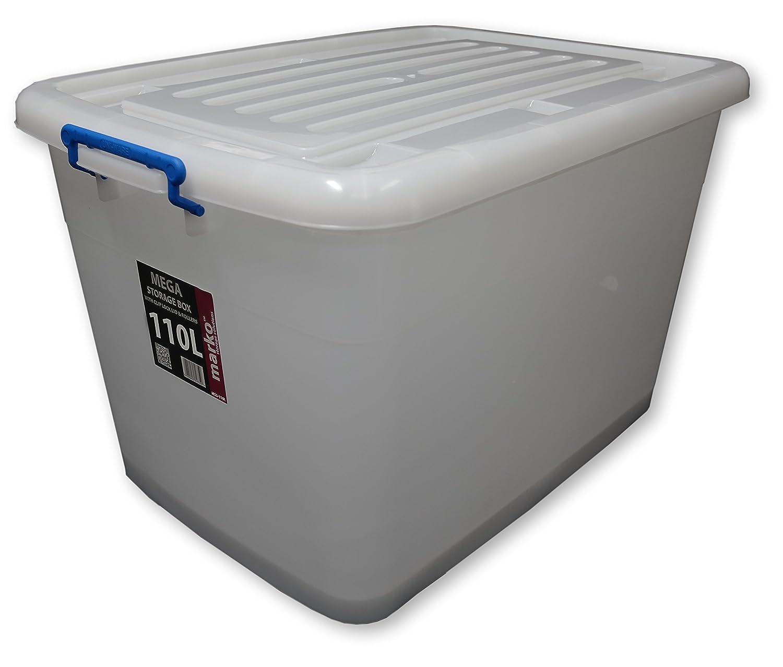 Elegant 2 X 110L Large Plastic Storage Boxes Wheels U0026 Clip Lids: Amazon.co.uk:  Kitchen U0026 Home