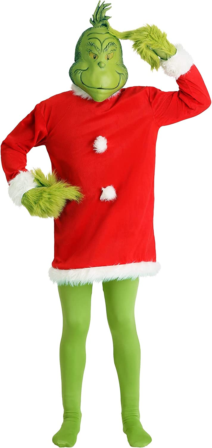 elope Dr. Seuss The Grinch Santa Costume Deluxe with Mask