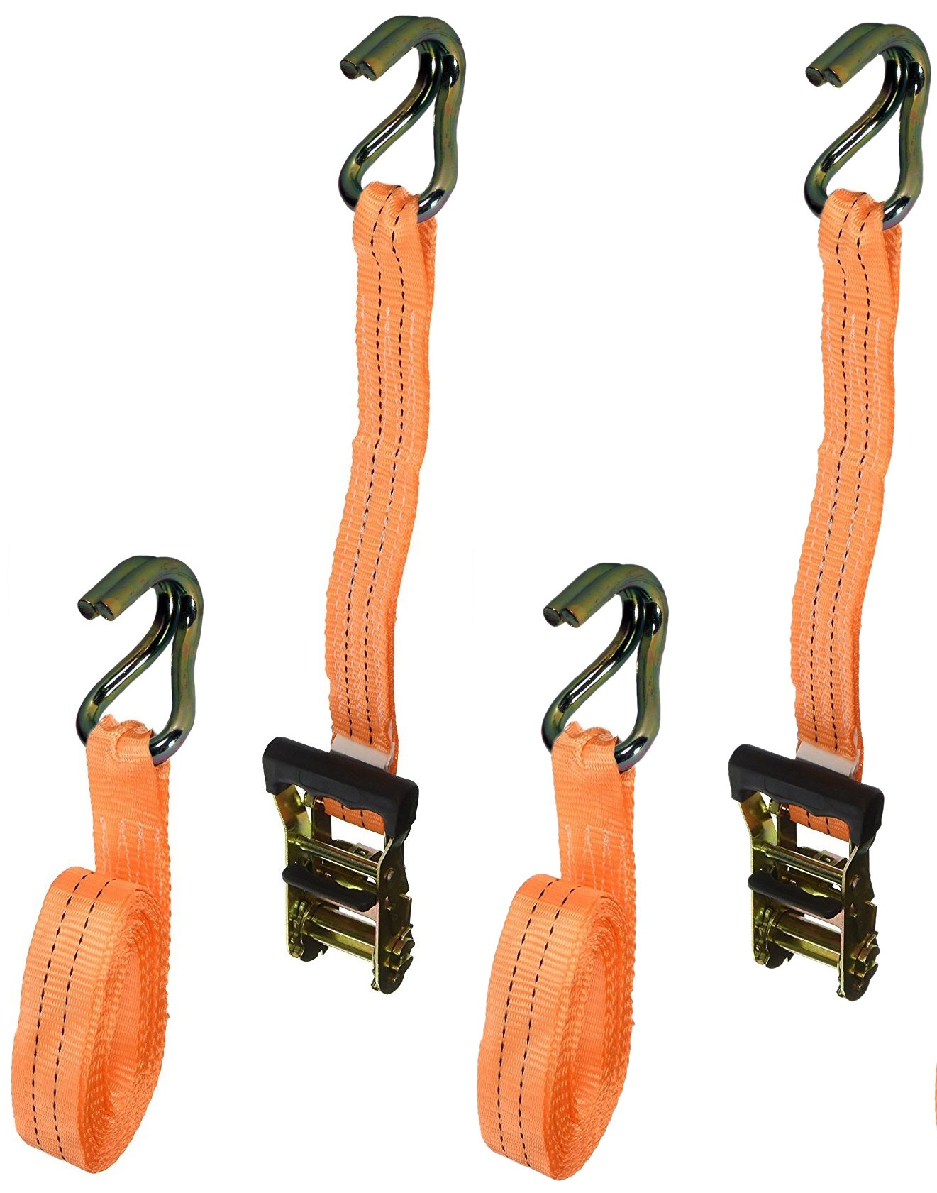Badass Moto Heavy Duty Ratchet Straps Tie Downs 2-Pack - 4400 Break Str 1.5 in X 15 foot - Motorcycle Tie Down Straps - Truck Cargo - ATV Trailer - Wide Padded Grips, Duffle Bag, Ratchet Strap Keepers by Badass Motogear