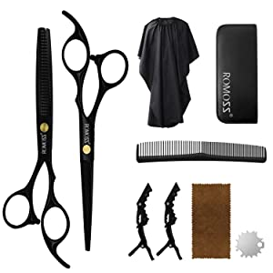 Hair Cutting Scissors Set, Professional Haircut Shears with Thinning Scissors Black Hairdressing Kit for Barber, Salon, Home (Black-9 pcs)