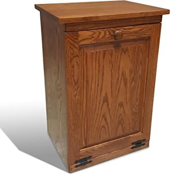 Peaceful Classics Amish Handcrafted Tilt Out Trash Cabinet Wooden Hideaway Pull Out Garbage Can Holder Harvest