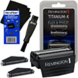Remington Shaver Screens and Cutters Replacement Heads (SPF300) + Double Ended Shaver Brush + HeroFiber Cleaning Cloth…