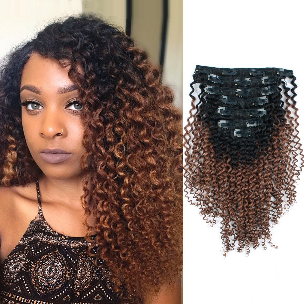 641fcc41f0b AmazingBeauty 3C 4A Kinkys Curly Ombre Hair Extensions Double Weft Real  Remy Human Hair for African