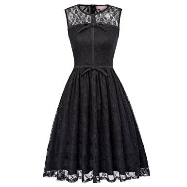Vintage Embroidery O Neck Sleeveless with Bow Pinup Sexy Rockabilly Vestidos 2018,1 Black Lace