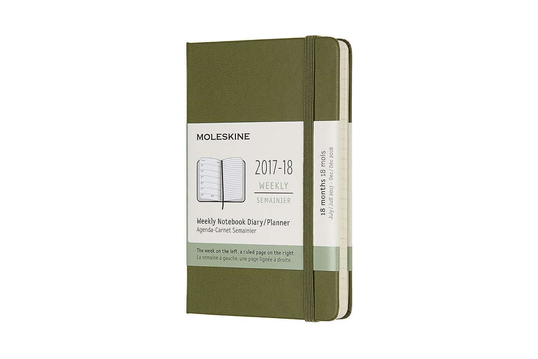 Moleskine DHK1618WN2Y18 - Agenda semanal 2017-2018, de bolsillo, 18 meses, tapa dura, color verde