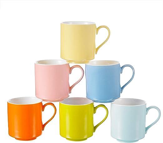 Panbado Juego de Tazas de Café/Té de Porcelana 6 x Tazas de ...