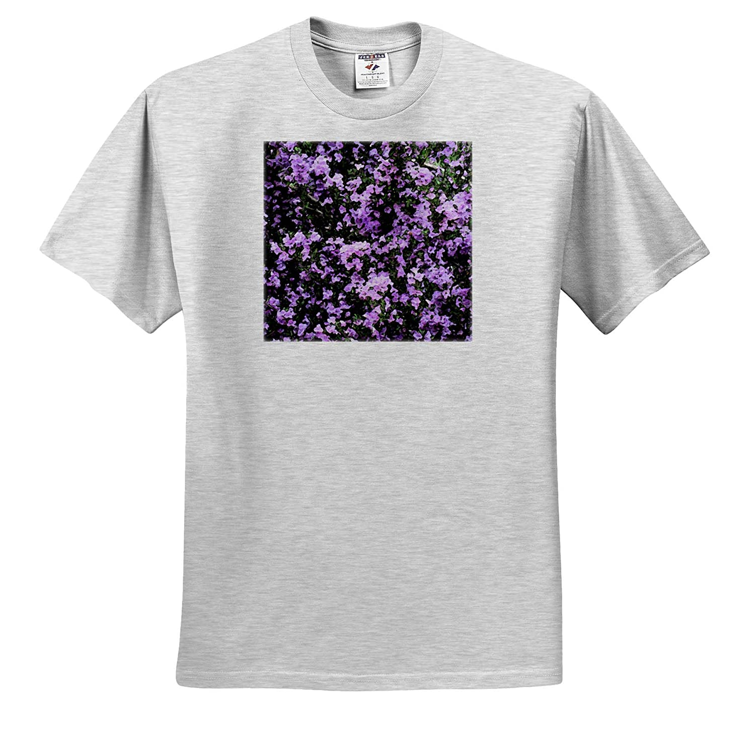 A Purple Flowering Bush Done in a Fresco 3dRose Jos Fauxtographee T-Shirts Fresco Purple Flowers