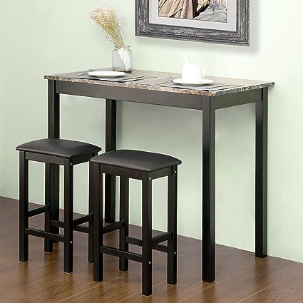 Amazoncom Harper Bright Designs By Merax 3 Piece Pub Table Set