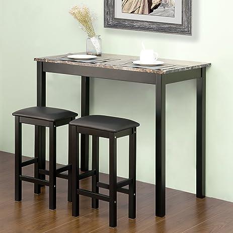 Amazon.com: Harper & Bright Designs By Merax 3-Piece Pub Table Set ...