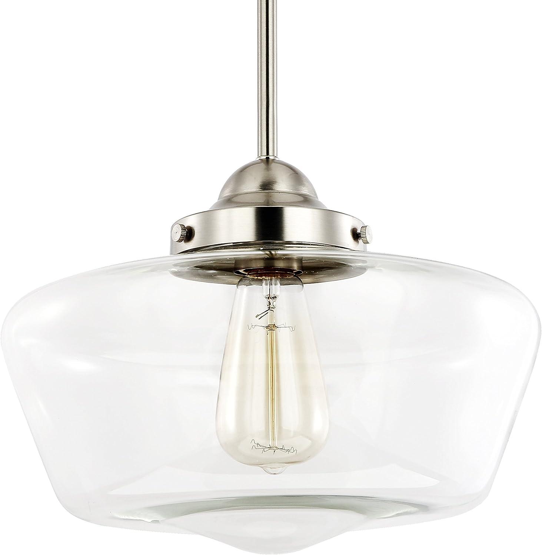 Light Society Portola Schoolhouse Pendant Light, Satin Nickel with Clear Glass Shade, Classic Vintage Modern Lighting Fixture LS-C251-SN-CL