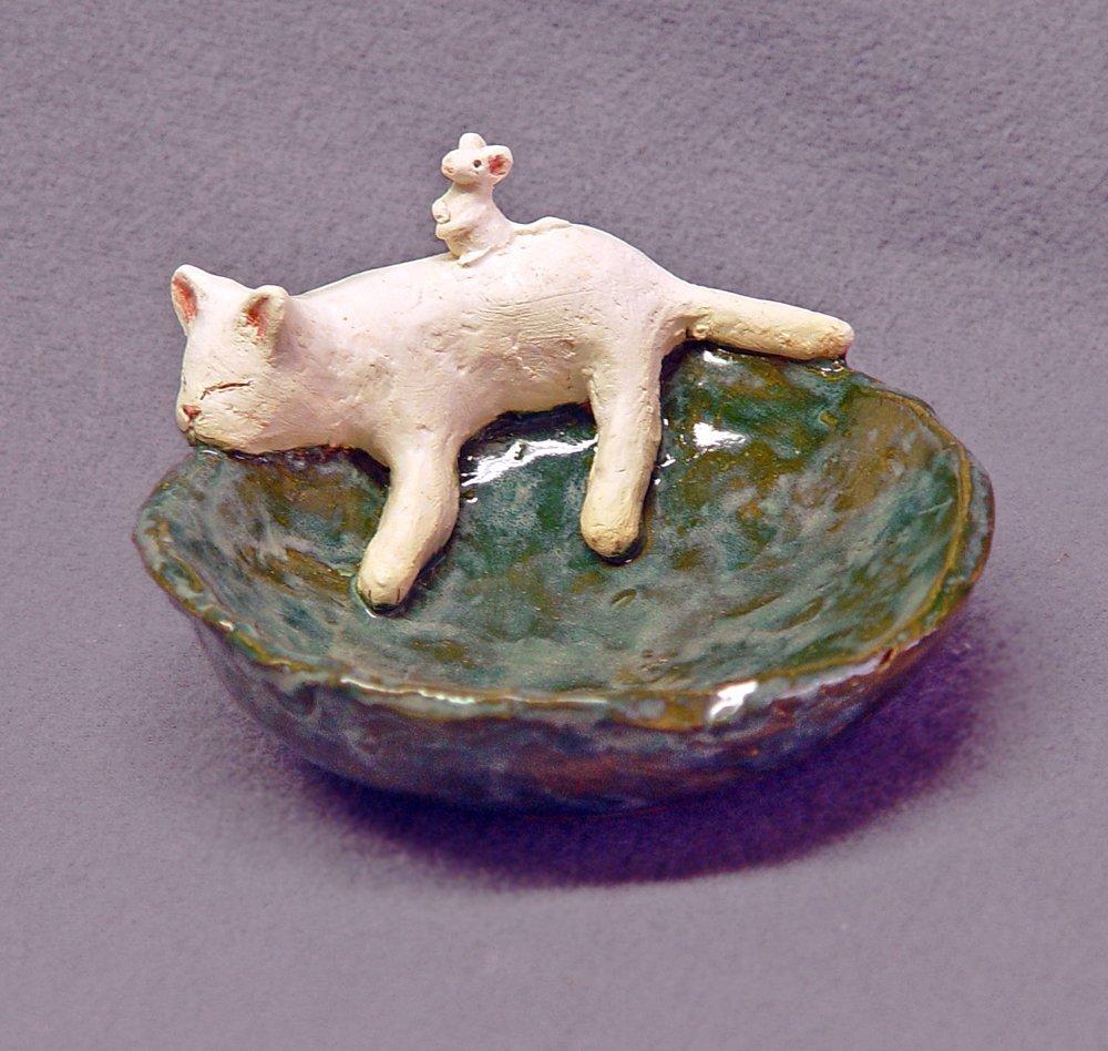 Hand built ceramic cat