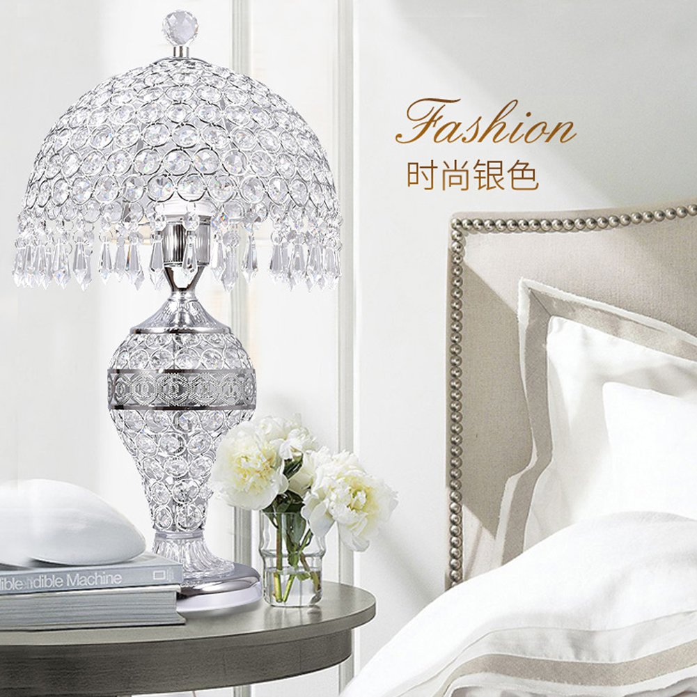 LgoodL Crystal Glass Table Lamp Bedroom Bedside Lamp Living Room Luxury Wedding Decorative Table Lamp Creative Table Lamp D25xH48CM (Remote control) SILVER by LgoodL (Image #2)