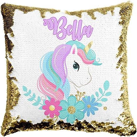Personalised Unicorn Letter A Magic Sequin Mermaid Cushion Cover 9 Colours