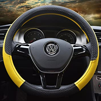 amarillo Cubierta de volante de cuero de microfibra Tama/ño universal 37-38cm