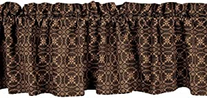 "Home Collection by Raghu Marshfield Jacquard Black & Tan Valance, 72"" x 15.5"", Black/Tan"