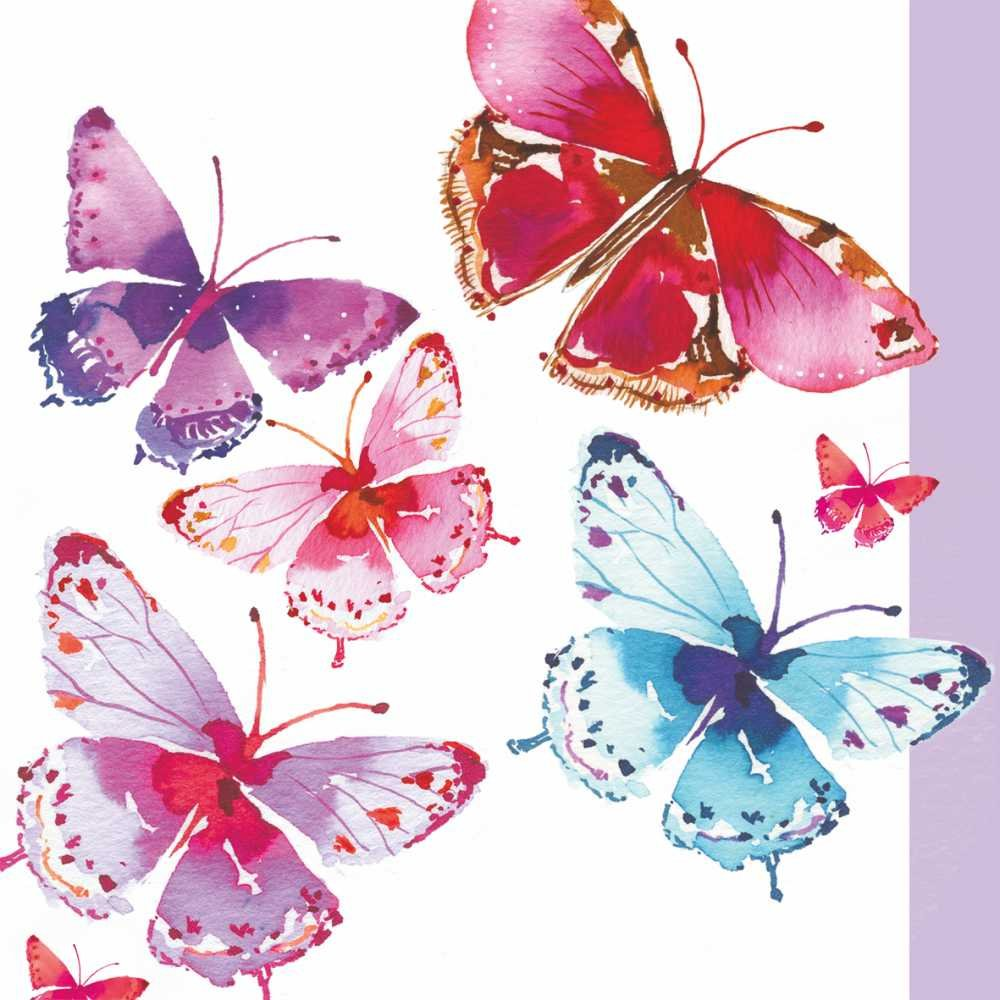 Paperproducts Design 1251924 Beverage/Cocktail Aquarelle Butterfly Paper Napkins (20 Pack), Multicolor