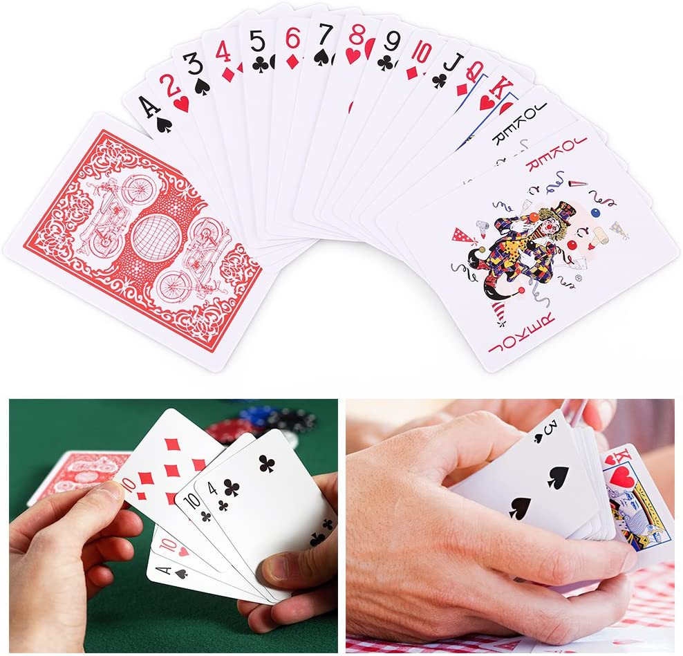 FAST WORLD SHOPPING/® Poker Set 100 Chips Fishes Playing Cards Dice Play Black Jack Texas Holdem