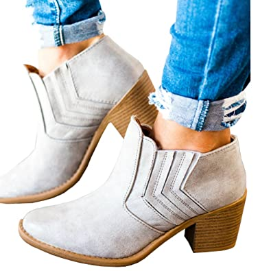 Women's Fall Winter Chunky Low Heel Round Toe Side Buckle Ankle Booties Boots