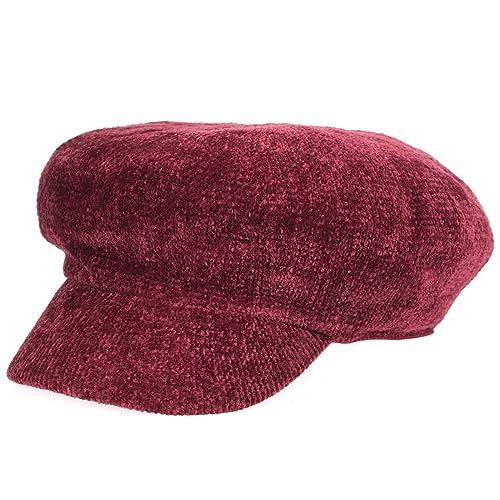 Chenille Cap - Boinas rojas ManChDa Vintage News Cap para mujeres