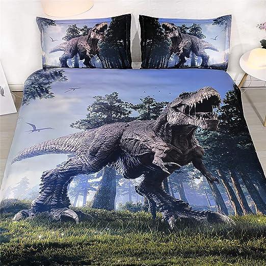 Juego De Cama Suave 400 Hilos 100% Algodón Dinosaurio Jurásico ...