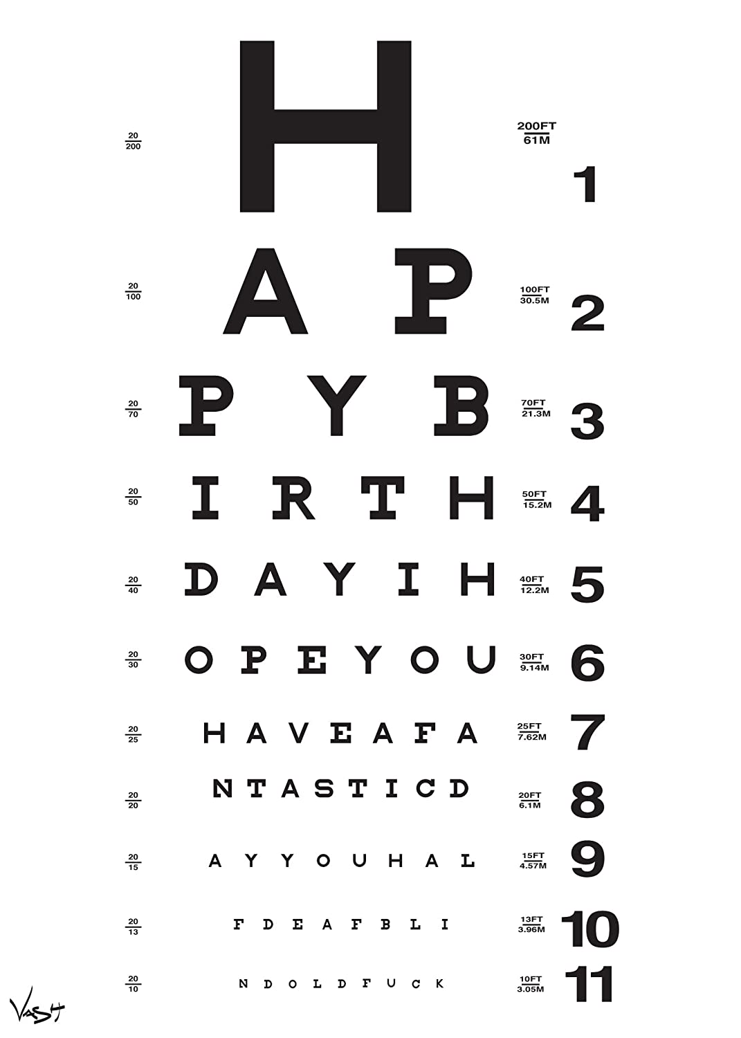 Eye Chart Birthday Card Amazon Office Products