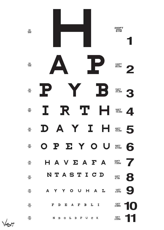Amazon eye chart birthday card by vash designs greeting amazon eye chart birthday card by vash designs greeting cards office products geenschuldenfo Choice Image