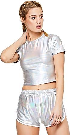 SweatyRocks Women's Shiny Metallic Crop Top Shorts Set 2 Piece Outfit Suit
