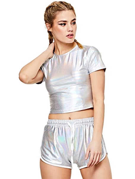 SweatyRocks Women s Shiny Metallic Crop Tops With Shorts 2 Piece Outfit  Suit Silver XS 7bc49a794
