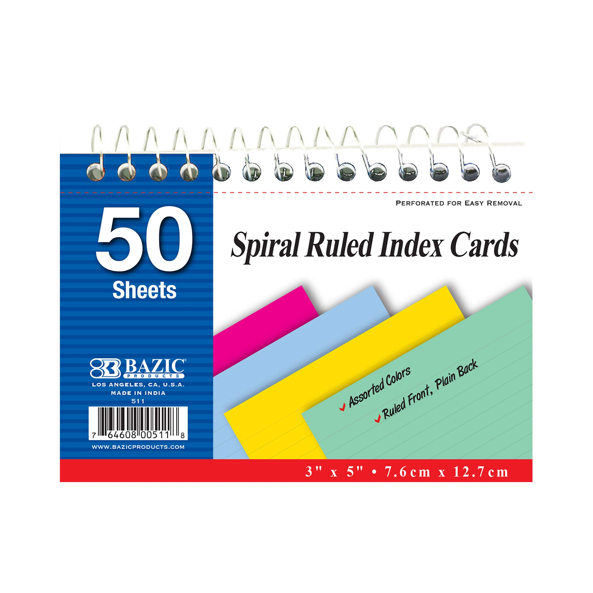 BAZIC 50 Ct. Spiral Bound 3'' X 5'' Ruled Colored Index Card (Case of 36) by B BAZIC PRODUCTS