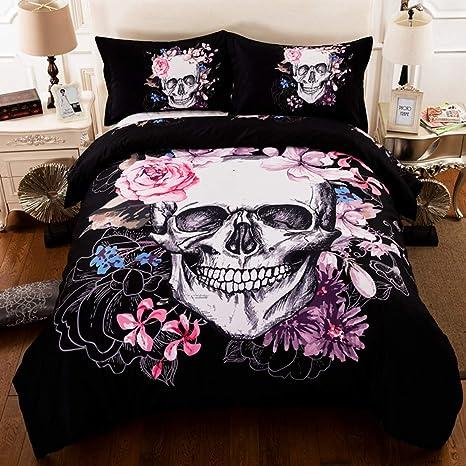 Amazon.com: Juego de ropa de cama con diseño de calaveras de ...