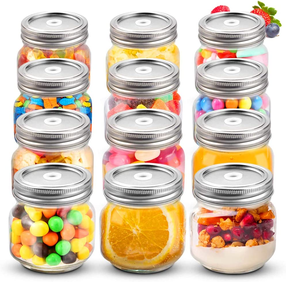 Sungwoo Mason Jars 8 oz Regular Mouth Canning Jars with Sealed and Straw Lids for Jam Honey Snacks Candies (12 Pack)
