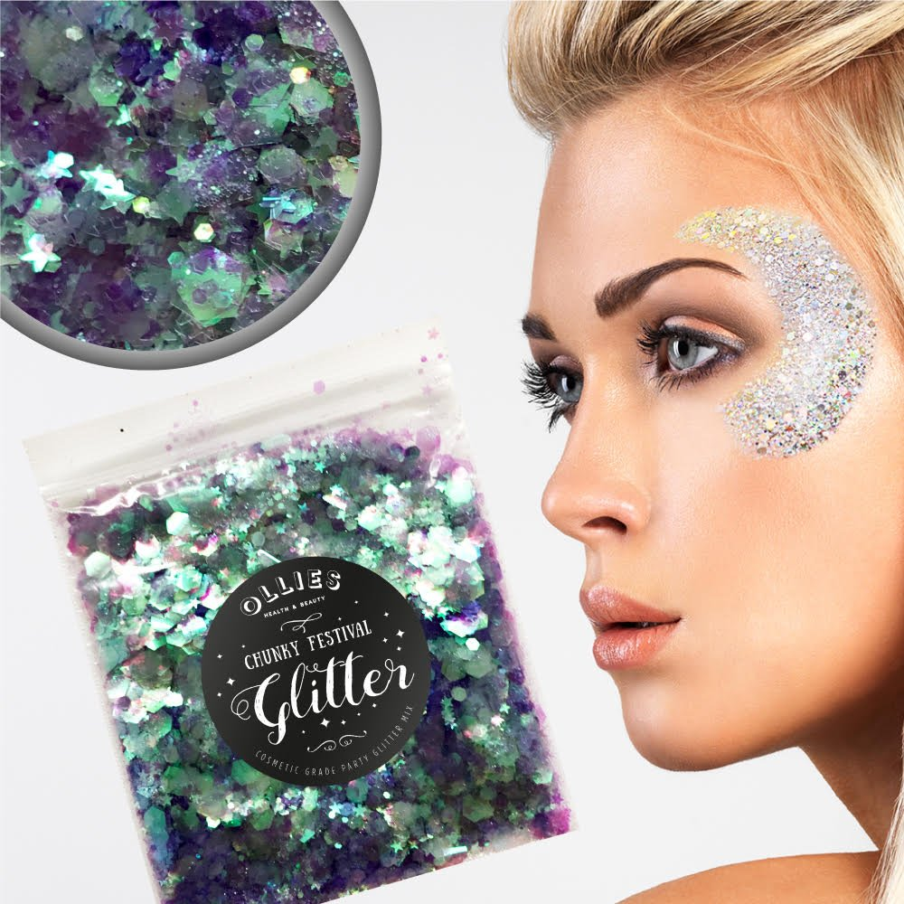 10g Chunky Festival Cosmetic Glitter With Holographic And Iridescent Mixed Loose Flakes For Face Skin Body Hair Lips Nails Decoration Multi Colour Funky Mixes (Blue Lagoon) Ollies Health And Beauty