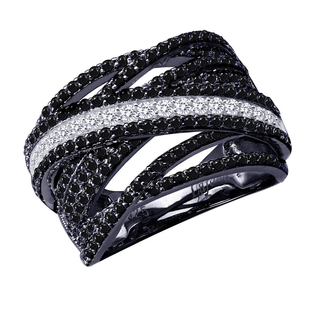 Lafonn Pave Glam Sterling Silver Platinum Plated Lassire Black Ring (2.37 CTTW)